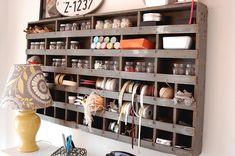 great link to fun craft room ideas using vintage finds scrap craft room office studio art work space Craft Room Storage, Wall Storage, Craft Organization, Storage Ideas, Craft Rooms, Wall Shelving, Paper Storage, Organizing Life, Craft Shelves
