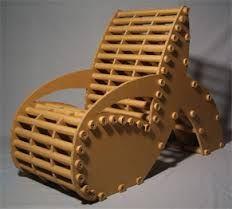 Resultado de imagem para cardboard chair♦️More Pins Like This At FOSTERGINGER @ Pinterest ♦️ Red Painted Furniture, Metal Patio Furniture, Patio Furniture Covers, Green Furniture, Art Deco Furniture, Chalk Paint Furniture, Diy Furniture, Furniture Design, Cardboard Chair