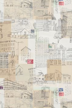 architectural line drawings and collage