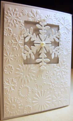 "cuttle bug christmas card | A2 Card 4.25"" x 5.5"" 2"" Square Punch Cuttlebug Snowflakes Folder Ice ..."