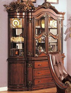 China Cabinet Buffet Hutch With Carved Accents Cherry Finish Curio CabinetsChina CabinetsDining Room