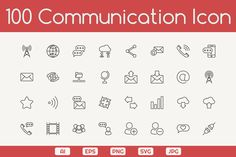 100 Communication Icons by eucalyp on @creativemarket