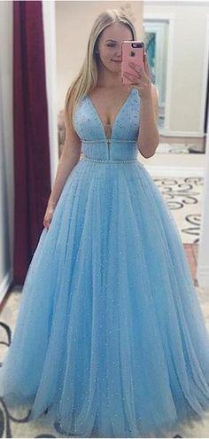 Elegant Sequins Straps Prom Dresses Sleeveless Evening Dresses with Beads Straps Prom Dresses, Cute Prom Dresses, Elegant Dresses, Beautiful Dresses, Long Dresses, Baby Blue Prom Dresses, Casual Dresses, Wedding Dresses, Prom Gowns