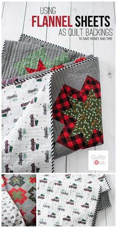 QUILTY LOVE | Save money quilting: Use flannel sheets as quilt backings to save time and money quilting. Flannel sheets are soft and warm and inexpensive and make the coziest quilts. How to use sheets as quilt backings.