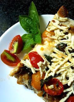 strata with balsamic caramelized onions, tomatoes and spinach.  GREAT gluten and dairy free blog!