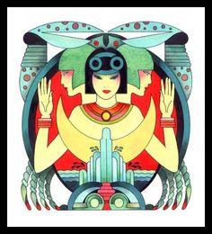 Caroline Smith Art Deco Zodiac * Cancer *