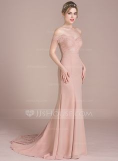 Trumpet Mermaid Off-the-Shoulder Court Train Beading Sequins Zipper Up  Regular Straps Sleeveless No Dusty Rose Spring Summer Fall Winter General  Plus ... e1c46d23faf6