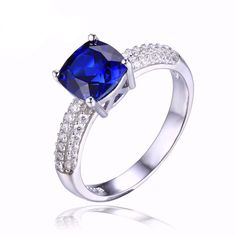 2.6ct Created Blue Sapphire Engagement Ring- 🔥LIMITED TIME OFFER🔥 - On Sale - $44.99 -  Click To Save - Get It Now!    💍💍 REPIN IF YOU LOVE FASHION AND JEWELRY ! 💍💍    #and #to #stone #her #art #engagement #matte #delicate #fall #fashion