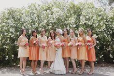 Peach mix and match bridesmaids dresses
