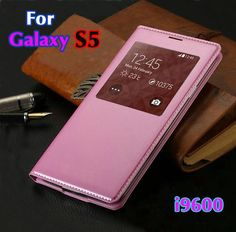 For Samsung Galaxy S5 S 5 SV I9600 9600 Original Sleep Wake Function With IC Chip case Leather Flip Case Cover New+gift