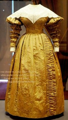 1837 Mourning dress (once black, now faded) worn by Queen Victoria to her first Privy Council
