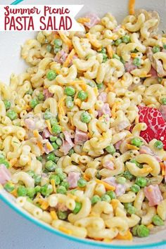 This Easy Summer Picnic Pasta Salad with ham and cheese is going to become your . - This Easy Summer Picnic Pasta Salad with ham and cheese is going to become your . Macaroni Salad With Ham, Classic Macaroni Salad, Ham Pasta, Ham Salad Recipes, Easy Pasta Salad Recipe, Summer Salad Recipes, Pasta Salad Recipes Cold, Summer Picnic Recipes, Easy Pasta Meals