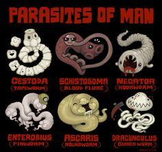 Parasites of Man by scythemantis on deviantART Too cute!