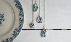 Pendant Necklace made of Antique French Transferware Plates - Teal Green Broken China Necklace Jewelry with Sterling Silver Plated Chain by lesperluette on Etsy