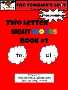 """Two Letter Sight Words Book that meet Common Core Standards with Word Recognition ELA-Literacy.RF.K.3 - Two letter sight words for beginning reading. Build confidence in students with this easy reader. This is Book #1 of a three book series. The cards measure 6.5"""" x 3""""Instructions:1."""