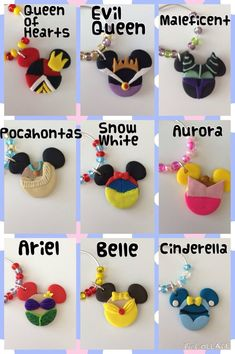 Disney Wine Charms by LotsOfHappiness on Etsy Fimo Disney, Disney Clay Charms, Polymer Clay Disney, Cute Polymer Clay, Cute Clay, Polymer Clay Charms, Polymer Clay Projects, Resin Crafts, Fimo Clay