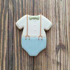 Baby Onesie Cookie Cutter - decorated little man onesie cookie by Clough'D 9 Cookies