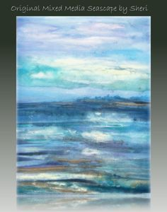 Original Surreal Abstract Seascape Canvas Painting by sherischart, $88.99