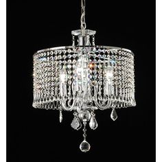 Illuminate your home with this elegant three-light crystal chandelier with a metal frame. This beautiful chandelier features exquisite crystals and a chrome finish. With 40 inches of chain included, the fixture can be customized to any length drop.