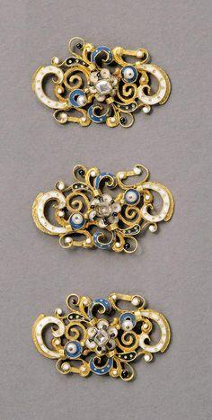 Clasp, 16th century, Hungary, gold; diamond; pearl, enamel