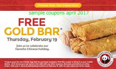 Panda Express coupons & Panda Express promo code inside The Coupons App. Free chicken egg roll the at Panda Express April Chicken Egg Rolls, Chicken Eggs, Free Printable Coupons, Free Coupons, Free Food Today, Free Chickens, Money Saving Mom, Express Coupons, New Year Celebration