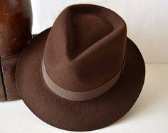 b16ac3e44f Chocolate Brown Wool Felt Fedora Wide Brim Merino by HatsNCompany