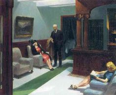 From Indianapolis Museum of Art at Newfields, Edward Hopper, Hotel Lobby Oil on canvas, 23 × 18 in Edward Hopper Obras, Edward Hopper Paintings, David Hockney, American Realism, American Artists, Paul Klee, Edouard Hopper, Ashcan School, Art History