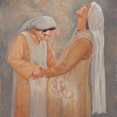 The visitation. Mary(& Jesus) and Elizabeth(&John.the baptist).I wish all mothers could see their babies like this picture portrays! Catholic Art, Religious Art, Blessed Mother Mary, Jesus Mother, Baby Jesus, Mama Mary, Jesus Art, Prophetic Art, Biblical Art