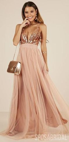 0cbf7e1938 Charming Rose Gold Sequin and Tulle Long Spaghetti Straps Simple Prom  Dresses