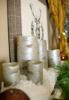 pottery barn knockoff diy birch candles, christmas decorations, home decor, painting