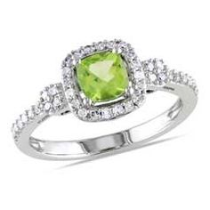 5.0mm Cushion-Cut Peridot and 1/5 CT. T.W. Diamond Frame Ring in 10K White Gold