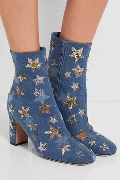 denim embellished booties