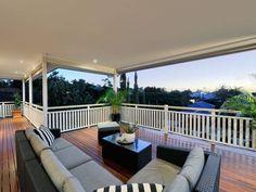 Indoor-outdoor outdoor living design with balcony & decorative lighting using timber - Outdoor Living Photo 418746