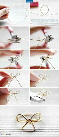 DIY Roundup: 7 Fun and Easy DIY Ring Tutorials wire bow ring – I've done this before! A cute and inexpensive idea, which also goes good with any outfit! The post DIY Roundup: 7 Fun and Easy DIY Ring Tutorials appeared first on DIY Crafts. Diy Bracelets And Rings, Bow Rings, Diy Rings With Paper Clips, Diy Rings From Wire, Diy Bracelets Metal, Diy Napkin Rings, Cuff Bracelets, Bangles, Diy Rings Tutorial