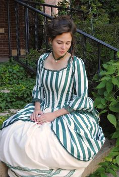 Green Rococo Colonial Tea Striped Gown Dress CUSTOM. $294.95, via Etsy.