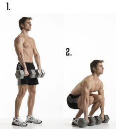 2. Dumbbell Deadlifts Protocol: 3 sets, 12 reps Primary Muscle(s): Back, Abs Hold 2 dumbbells on the outer half of your thighs. Keep your core right, shoulders back, and back flat throughout. Bend at the hips and slowly descend, lowering the weights until they hit the floor. Powerfully raise your torso, push through your butt, and ascend back up.