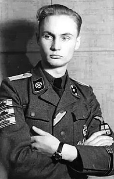 "The cool ""Panzervernichter"": Untersturmführer (2nd Lieutenant) Johann Petter Balstad, highly decorated[2]Norwegianvolunteer of (7./SS-Pz.Gr.Rgt 23 ""Norge"") SS-Panzergrenadier-Regiment 23 Norge (11th SS Volunteer Panzergrenadier Division Nordland)."