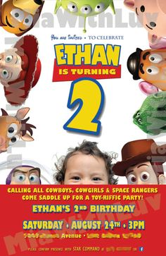 Digital Toy Story Birthday Invitation JPEG file by MiaWithLuv, $10.00