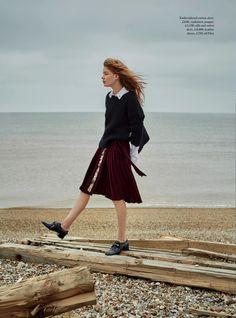 Beside the Silver Sea - Hollie May Saker by Agnes Popieszynska for Harper's Bazaar UK July 2016 - Dior