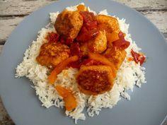 Cuillère, aiguille et scie sauteuse: Boulettes de poulet tomate-poivron