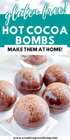 Step-by-Step tutorial for how to make your own gluten free hot chocolate bombs with marshmallows and other flavors or fillings like candy canesm andea mints, caramels and more. These DIY hot cocoa bombs are gluten free and the perfect DIY gift idea for Christmas. #glutenfree #hotchocolatebomb #creativegreenkitchen #hotchocolate #hotcocoa