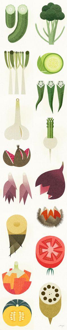 Designspiration - Design Inspiration Vegetable Illustration, Fruit Illustration, Creative Illustration, Graphic Illustrations, Illustration Styles, Cactus Drawing, Fruits Drawing, Drawing Art, Miss Moss