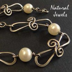 Bracelet with unusual wire links - pretty scrolls and pearls