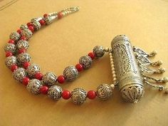 Jewish Yemen Yemenite Filigree Silver amulet Necklace