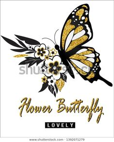beautiful flower and butterfly,lovely,for t-shirt slogan Butterfly Theme Party, T Shirt Painting, Metallic Bag, Slogan Tshirt, Cute Doodles, En Stock, Cool Sweaters, Cute Girls, Print Patterns