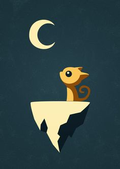 Moon Cat Art Print by Freeminds | Society6