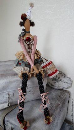 Купить кукла тильда ручной работы ДЕВОЧКА С БАРАБАНОМ))) - серый, розовый