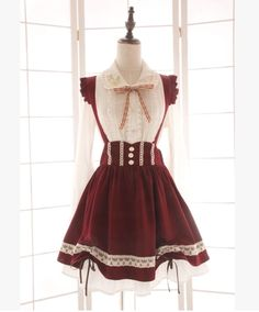 Japanese kawaii bowknot tall waist suspenders skirt