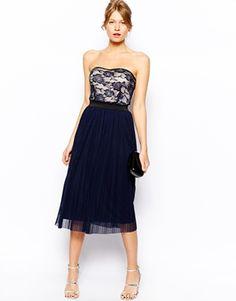 Lace Bandeau Midi Skater Dress with Pleat Skirt Lemay Lemay De Groof Stylish Dresses, Fashion Dresses, Midi Dresses, Pleated Skirt, Dress Skirt, Midi Skater Dress, Lace Bandeau, Beautiful Gowns, Evening Dresses