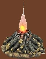 Electric campfire night light that has a bulb that lights up to resemble a burning campfire.